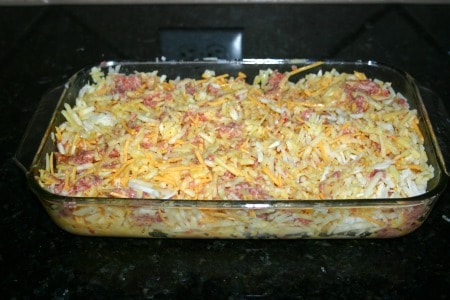 This Egg and Potato Breakfast Casserole (with shredded hash browns) is perfect for holiday breakfasts, brunches, potluck breakfasts and more since you mix it up beforehand and just pop in the oven.