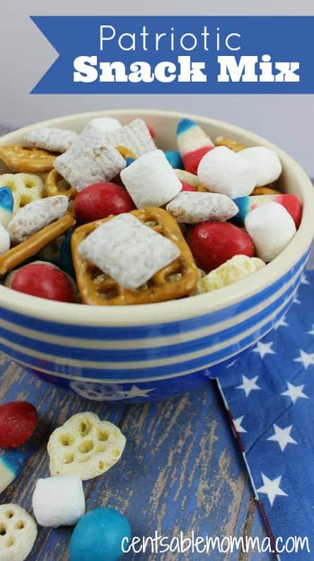 If you're looking for a recipe that's perfect for both Memorial Day or the 4th of July, you'll love this Patriotic Snack Mix.  It's easy to put together and will satisfy both the savory and sweet tooth!