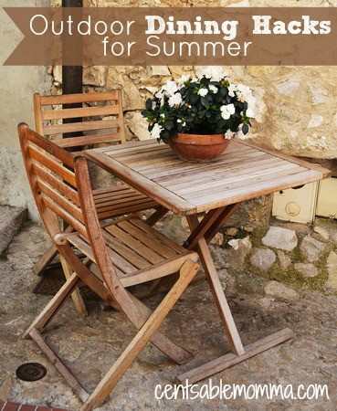 Summer {or spring and fall depending on location} can be a great time to dine outdoors. Make your outdoor dining experience great with these 5 Outdoor Dining Hacks to keep away the ants/bugs, keep food cooler, and more.