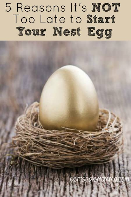 Have you started saving for retirement yet?  If not, check out these 5 reason that it's not too late to start your nest egg for reasons why and tips on how to get started with your savings.
