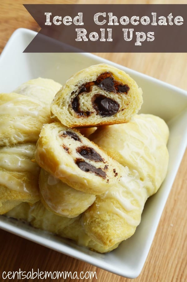 Create a yummy but simple breakfast recipe using a can of croissants and chocolate chips.  You can add cinnamon roll frosting to the top of these chocolate crescent rolls or drizzle melted chocolate.