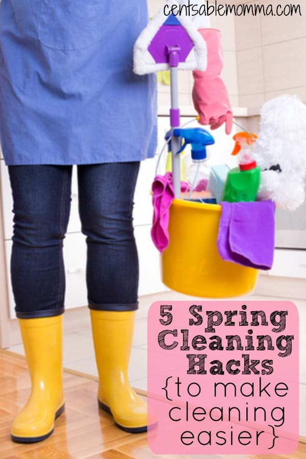 Cleaning usually isn't a fun task.  But, when you use these 5 spring cleaning hacks, it can make cleaning a lot easier.